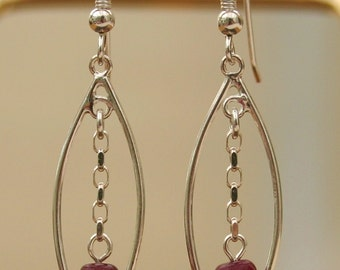 SILVER And RUBY EARRINGS...Drops