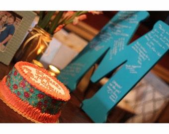Wooden letter for wedding or bridal shower guest book