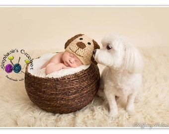 Crochet boy Puppy hat photography prop infant boy hat photo prop crochet baby hat-Made to order