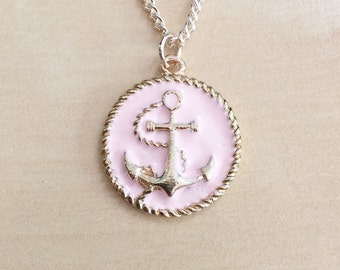"""30% OFF: Pink Anchor Necklace - Gold Tone Metal, 25mm, Peach, Enamel, Nautical Jewelry, Sailor-Inspired, Rope, Charm, Ships Wheel, 18"""" Chain"""