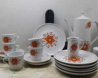 Colditz, Tea and dessert set, 1970s, vintage retro tea set, READ descriptions