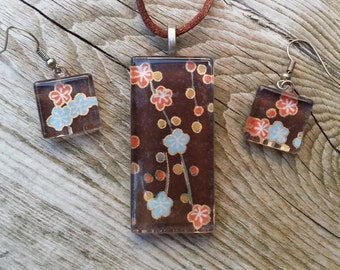 Orange and blue flowers on brown - Japanese chiyogami paper pendant and earrings set