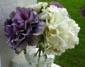 Purple & Ivory Silk Flower Arrangement, Fall Flowers, Hydrangea, Peony, Ranunculus, in Glass Vase in Acrylic Water