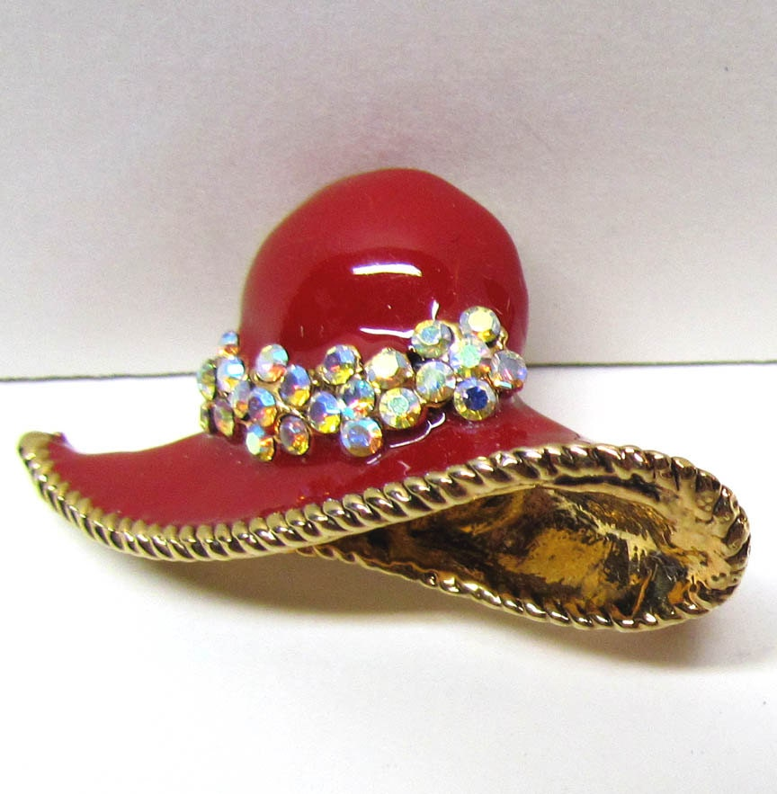 Red Hat Pin: Vintage Red Hat Society Brooch Pin Red Enamel By