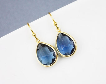Gold Framed Amethyst Navy Blue Glass Stone Earrings, Bridal Earrings, Bridesmaid Earrings .