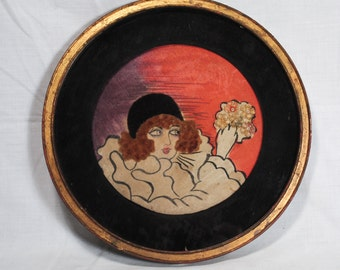 Vintage 1930's Round Art Painting Assemblage Picture