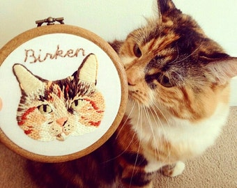 "Custom embroidered pet portrait - 4"" embroidered hoop art"