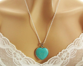Blue Turquoise Necklace, Turquoise Pendant Necklace, Turquoise Jewelry, Turquoise Heart