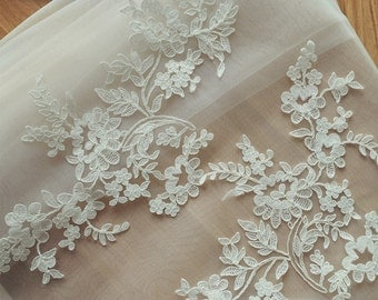 Delicate Alencon Lace Applique One Pair for Wedding Veils, Bridals, Headpiece,Gowns , Wedding Cakes Decor