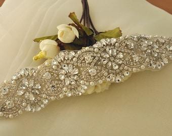 Lux Rhinestone Crystal Beaded Applique for Wedding Sash Bridal Belt