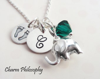 New Mom Necklace - Baby Shower Gift - New Baby Elephant Feet Charm Necklace - 925 Sterling Silver Jewelry - Monogrammed Initial & Birthstone
