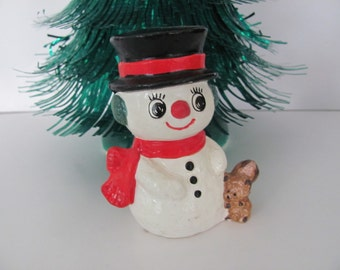 Vintage Christmas Snowman, 1970's Paper Mache Snowman Figurine, Kitsch,  1970's Christmas Decor, Mid Century