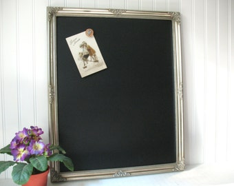 MAGNETIC CHALKBOARD Large SILVER Frame Weddings Kitchen Blackboard Photo Memo Ornate Wood Framed Restaurant Chalk Board Markers Magnet #56