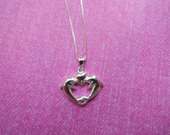Double Dolphin heart sterling silver pendant necklace