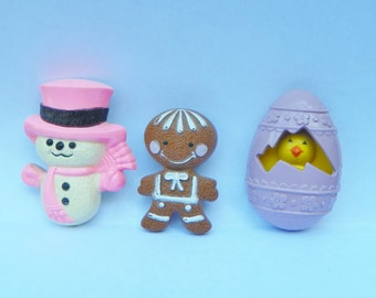 Vintage Avon Glace Fragrance Pins- Brooches- Your Choice- Snowman- Gingerbread Man- Easter Egg Chick- with perfume