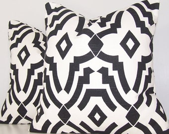 Pair Pillow Covers - Black and White Pillow - Couch Pillow - Toss Pillow - Accent Pillows - Various Sizes - Stencil - Chevelle