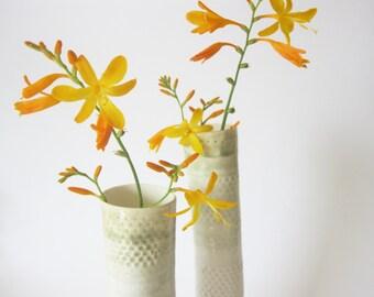 Set of 2 handbuilt porcelain vases