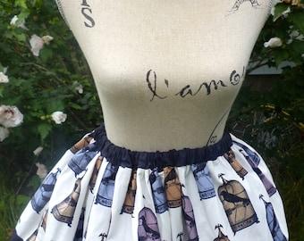 Raven Skirt. Gothic Lolita Skirt. Steampunk Raven skirt. Nevermore Skirt. Raven Inspired Skirt.