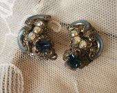 Vintage Czech Blue Glass Enamel Aurora Borealis Rhinestones Marcasite Clip Earrings