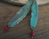 Turquesa Pluma Earrings, Feather Earrings, Turquoise Feather Earrings, Feather Earrings