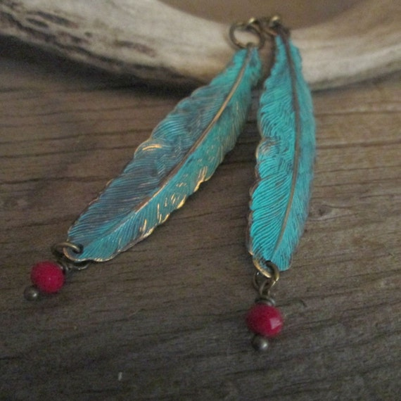 Metal Earrings, Turquoise Earrings, Feather Earrings, Turquoise Feather Earrings, Feather Earrings, Earrings