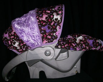 Infant Car Seat Cover - Sweet Pony with Rosette