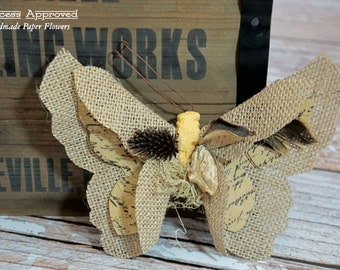 Burlap Butterfly with clip