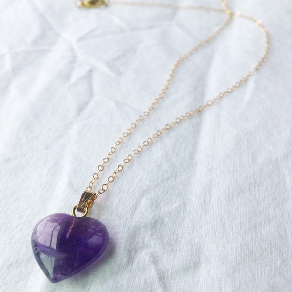 amethyst heart necklace by pantomimelionjewelry on etsy