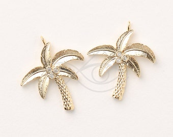3342011 / Coconut Tree / 16k Gold Plated Brass with CZ Pendant 22mm x 25.5mm / 2.1g / 2pcs