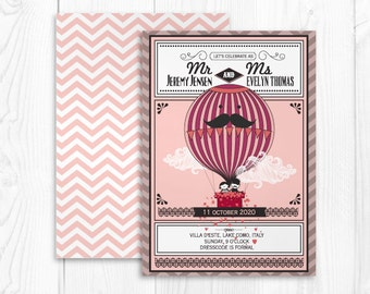 printable hot air balloon wedding invitation card template