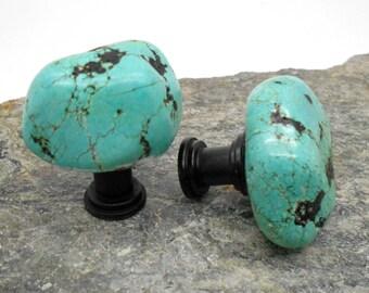 Knobs, Stone Knobs, Cabinet Knobs, Chunky Turquoise Stone Cabinet Knobs - Set of 2, Turquoise, Stone, Nugget, Kitchen, Bathroom, Southwest