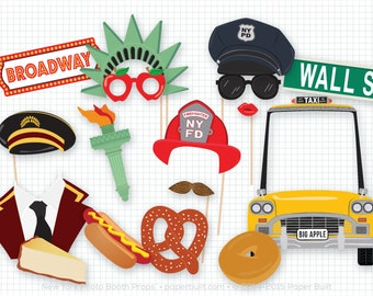 New York Photo Booth Props, Photobooth Prop, New York City, Bat Mitzvah, Bar Mitzvah, Big Apple, Broadway, Statue of Liberty, Taxi Cab, NYC