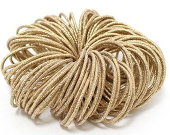 Annielov 100 pcs of 3mm Metaillic Gold Elastic Ponytail Holders Hair bands Hair accessories Wholesale lots stretch Hair ties