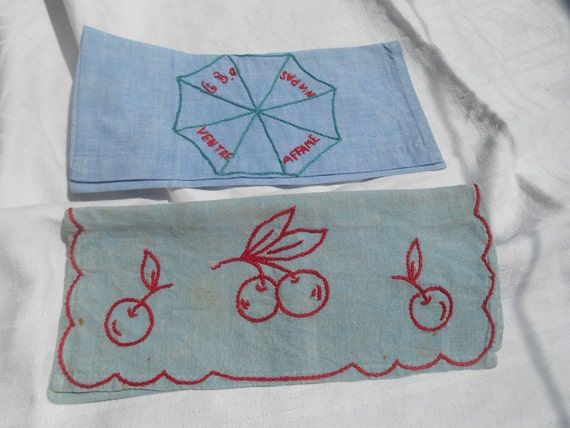 2 Napkin Cases Handmade French Blue Cotton Linen Pouch Cherry Hand Embroidered French Language Sewing Project #sophieladydeparis