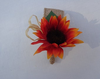 Boutonniere designed with a red-orange sunflower