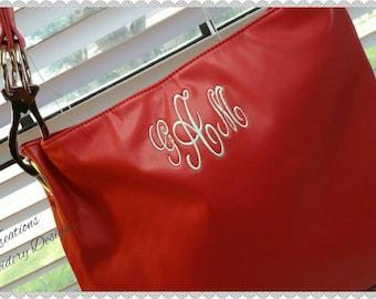 Monogram Purse - Monogrammed Red Purses  - Red Handbag Monogrammed Tote (Kay Kreations Embroidery Designs )