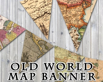 Old World Map Printable Banner - Includes 3 Sizes - Instant Download