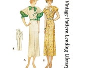 1933 Ladies Day Dress With Puff Sleeve Option - Reproduction Sewing Pattern #T7357