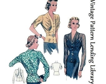 1938 Ladies Blouse With Gathered Bodice - Reproduction Sewing Pattern #T9581