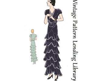 1931 Ladies Evening Gown With Ruffled Tiers - Reproduction Sewing Pattern #T1515