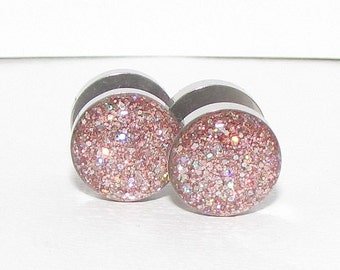 Pink Rainbow Hologram Glitter Fake Plugs