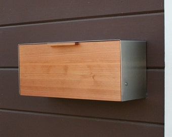 Modern Mailbox,  Redwood and Stainless Steel Mailbox