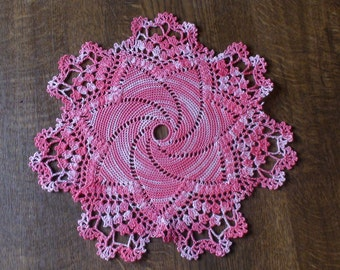 Crocheted doily Pink doily Table decoration Home decoration Lace doily