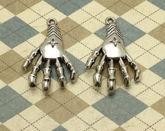 10pcs Antique Silver Hand Skeleton Charm 26mmx40mm