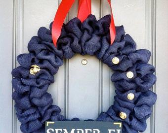 Navy Blue Bubble Burlap Wreath