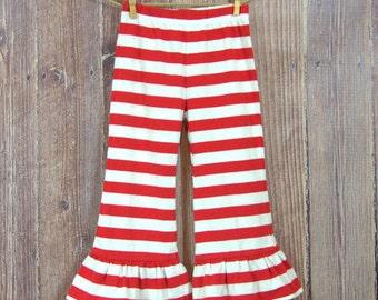 Red Striped Cotton Knit Ruffle Pants