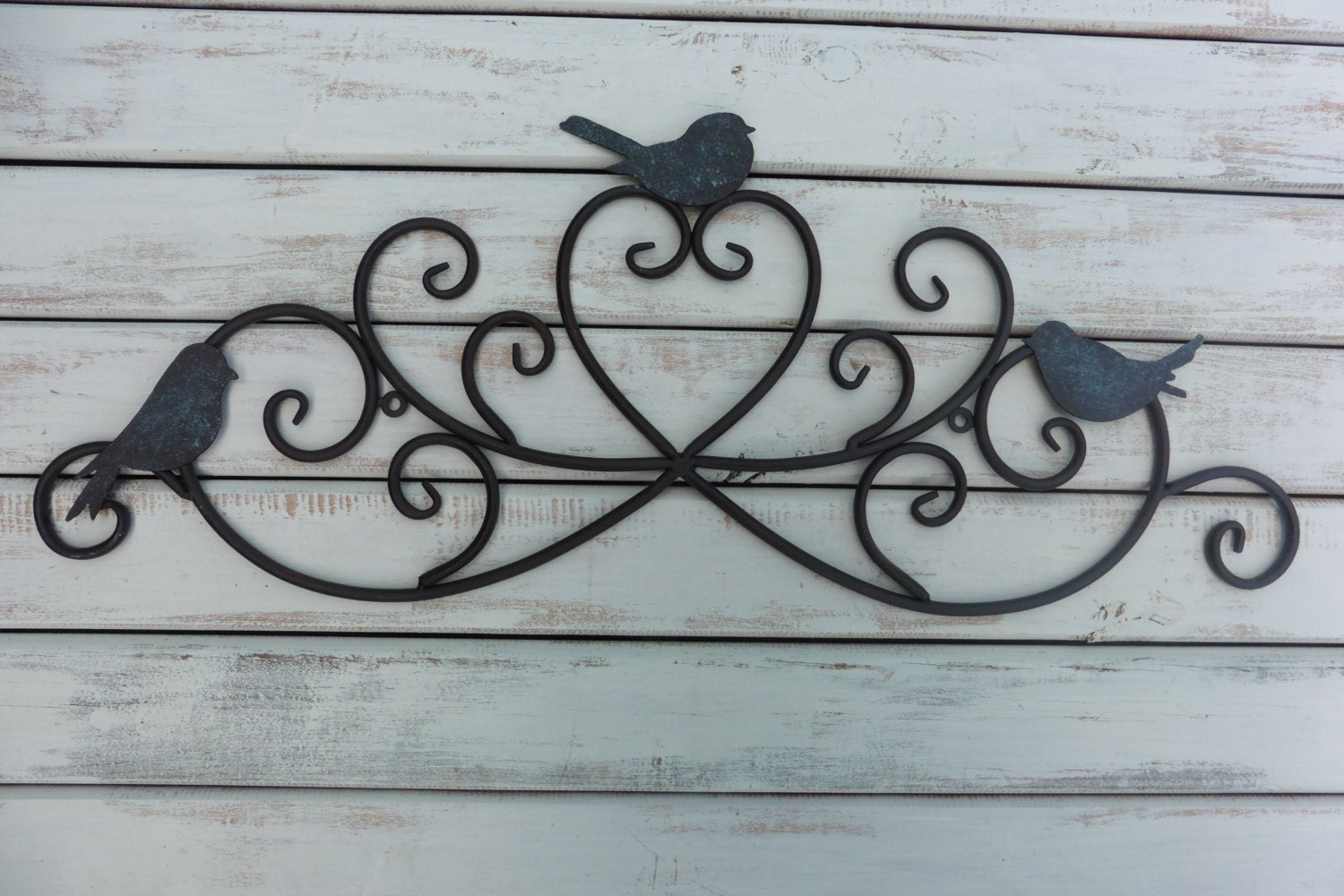 Wall Decor Bird Design : Wrought iron swirl with bird design wall art photo collage