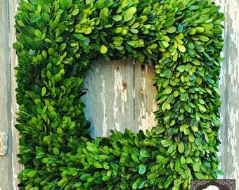 Wreaths - Boxwood Wreath - Natural Wreath - Home Decor - Burlap Ribbon - Year Round Wreath - Burlap - Welcome Wreath - Wreath -Square Wreath