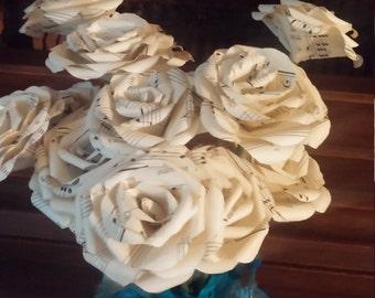 Bouquet of 6 Mini Vintage Music Sheet Roses Flowers