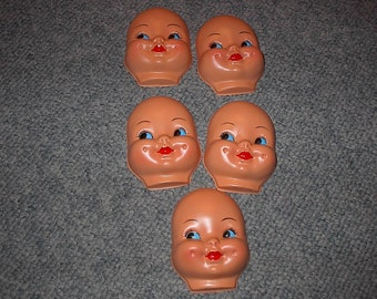 VINTAGE DOLL FACES For Arts And Crafts And Dolls Total Of Five Doll Heads